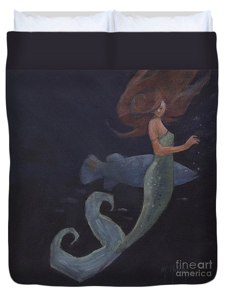 Mermaid And The Blue Fish Duvet Cover by Mary Hubley