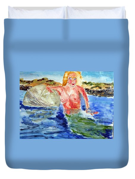 Mermaid And The Buoy Duvet Cover