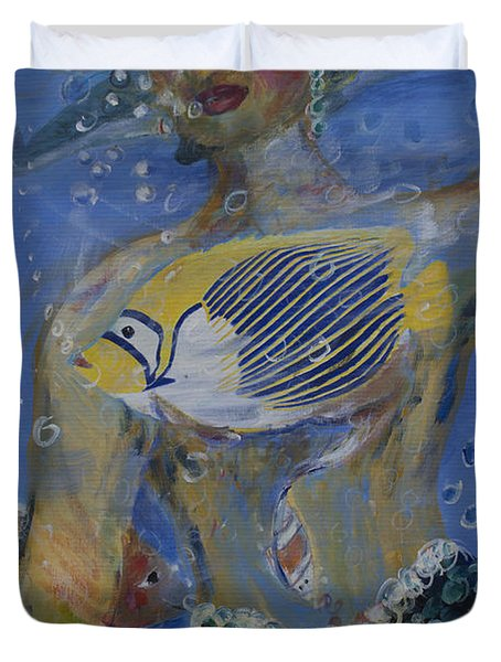 Duvet Cover featuring the painting Mermaid by Avonelle Kelsey