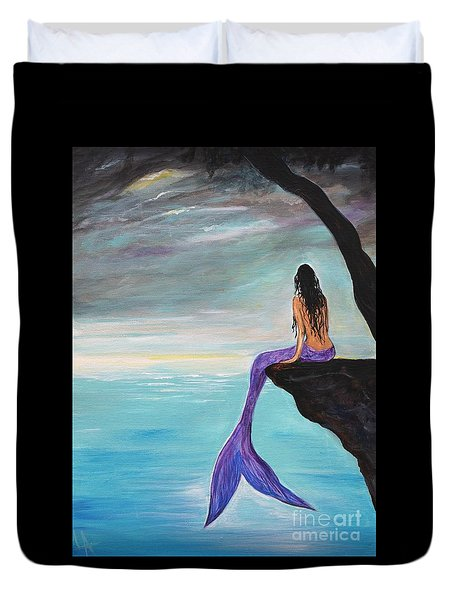 Mermaid Oasis Duvet Cover by Leslie Allen