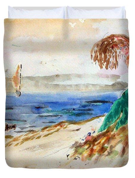 Mermaid Signalling Her Sailors Duvet Cover