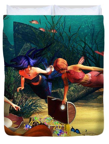 Mermaid Treasures Duvet Cover by Methune Hively