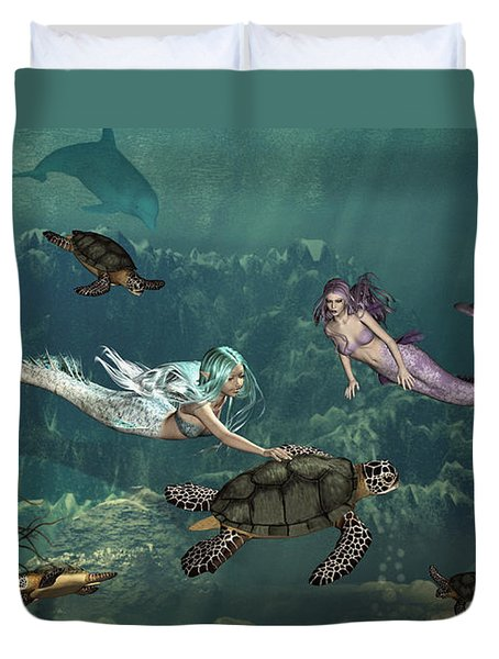 Mermaids At Turtle Springs Duvet Cover by Methune Hively