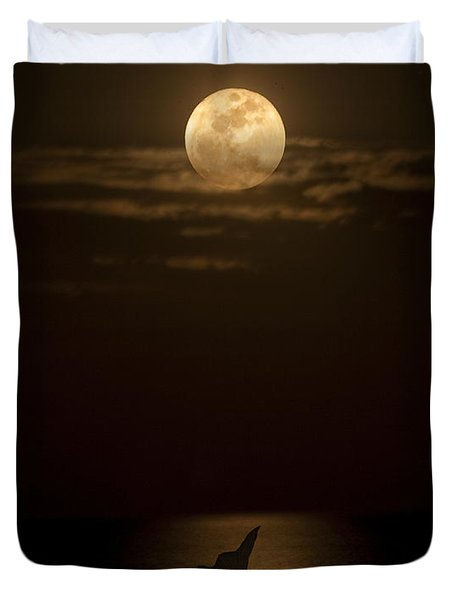 Duvet Cover featuring the photograph Mermaid's Moonsong by Paula Porterfield-Izzo