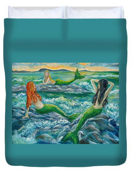 Mermaids On The Rocks Duvet Cover
