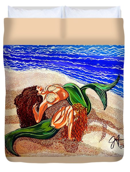 Duvet Cover featuring the painting Mermaids Spent Jackie Carpenter by Jackie Carpenter