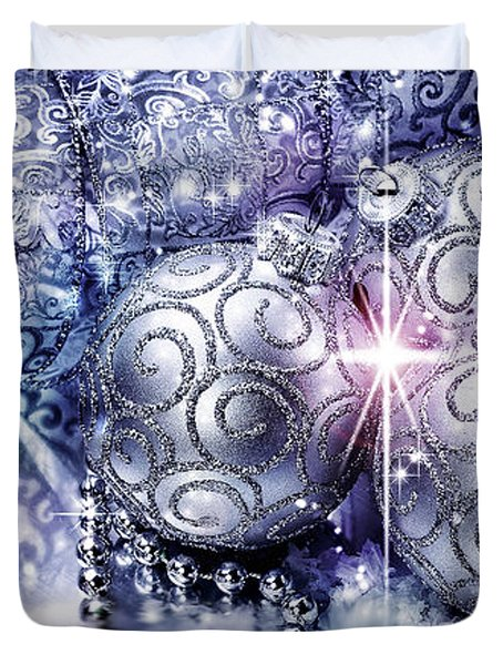 Merry Christmas Blue Duvet Cover by Mo T