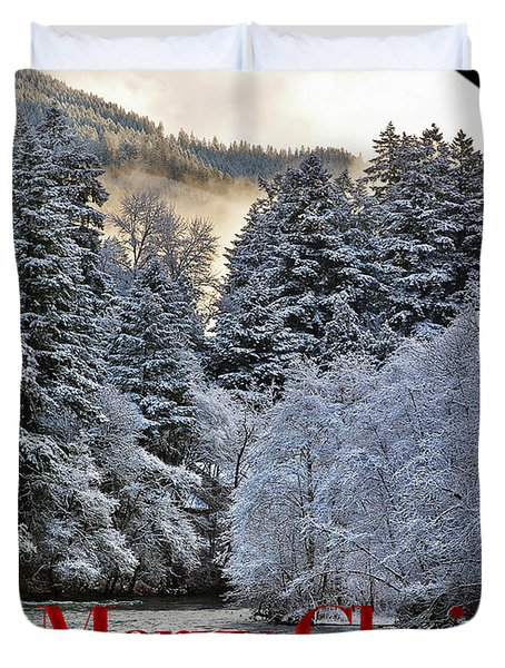 Merry Christmas Card Duvet Cover by Belinda Greb