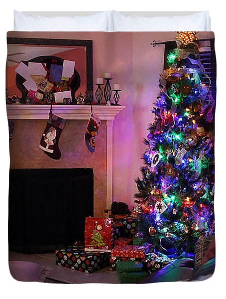 Duvet Cover featuring the photograph Merry Christmas From My Home To Yours by Trish Mistric