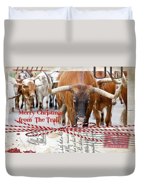Merry Christmas From The Trail Duvet Cover