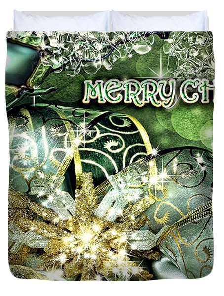 Merry Christmas Green Duvet Cover by Mo T