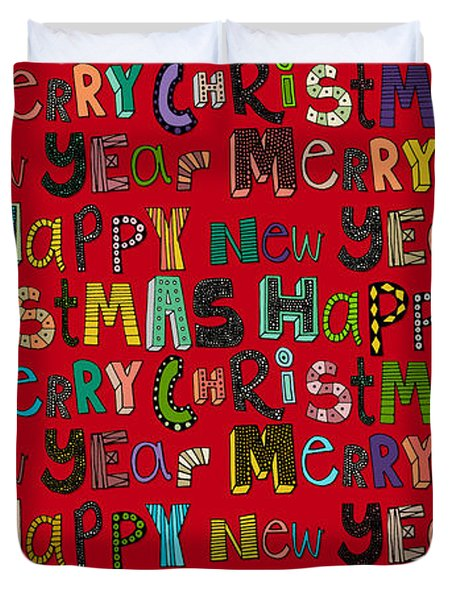 Merry Christmas Happy New Year Red Duvet Cover