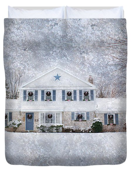 Wintry Holiday Duvet Cover by Shelley Neff