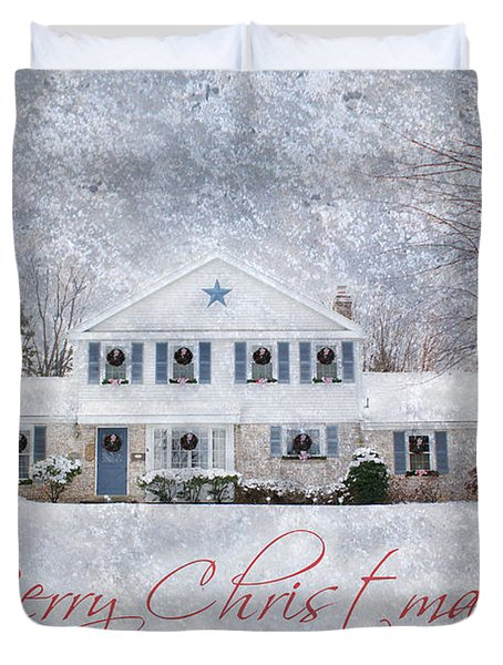 Wintry Holiday - Merry Christmas Duvet Cover