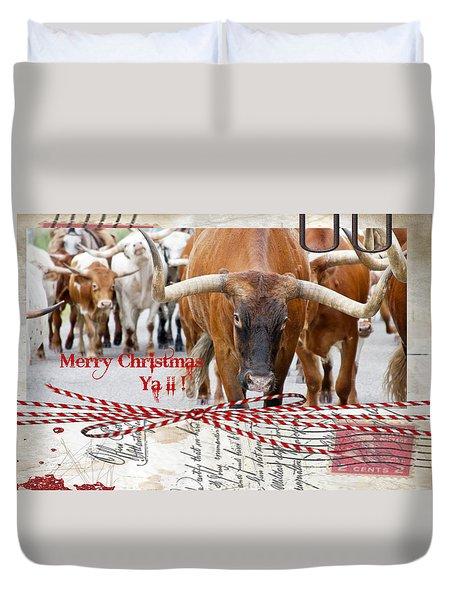 Longhorns Merry Christmas Ya'll Duvet Cover