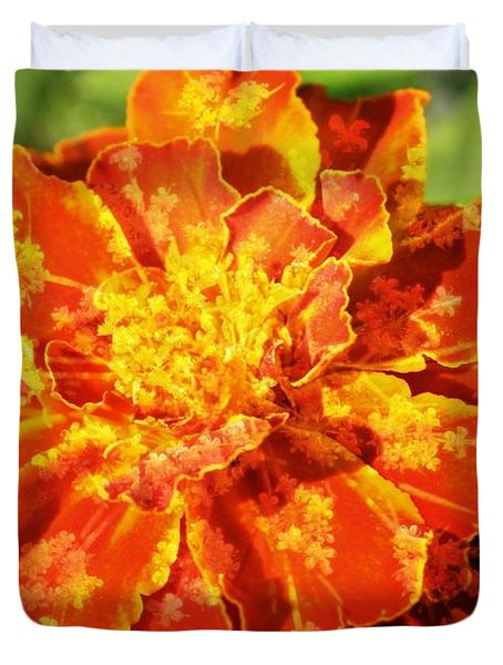 Merry Marigold Duvet Cover by Barbara S Nickerson