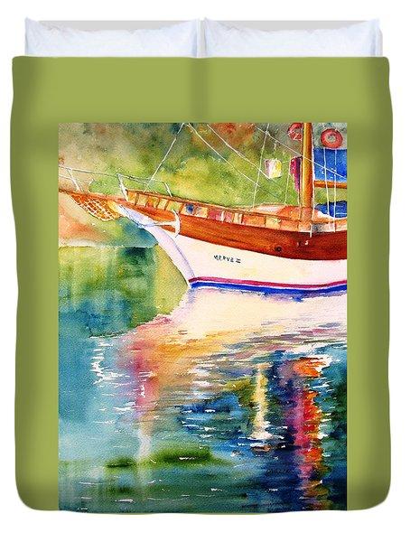 Merve II Gulet Yacht Reflections Duvet Cover