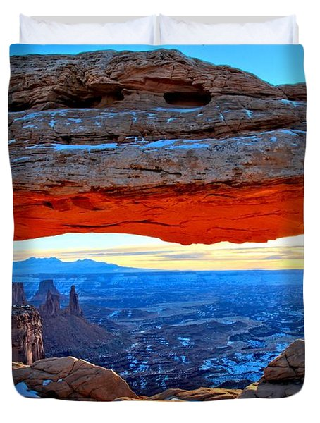 Mesa Arch Sunrise Duvet Cover by Adam Jewell
