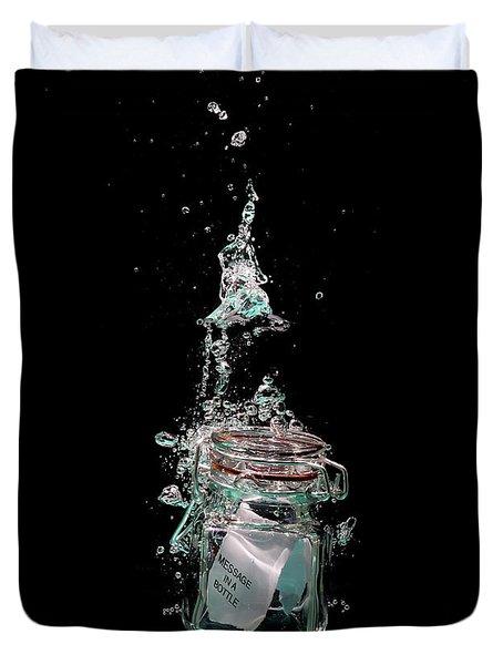 Message In Sinking Bottle Duvet Cover by Simon Bratt Photography LRPS