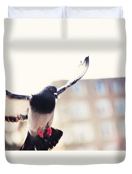 Messenger Of Love. Pink Spring In Amsterdam Duvet Cover by Jenny Rainbow