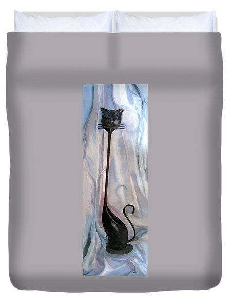 Duvet Cover featuring the painting Metal Cat by LaVonne Hand