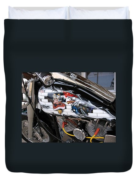 Duvet Cover featuring the photograph Metal - Motorcycle - The Wall by Susan Carella