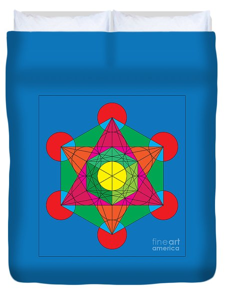 Metatron's Cube In Colors Duvet Cover