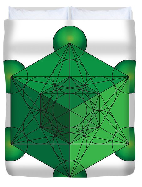 Metatron's Cube In Green Duvet Cover