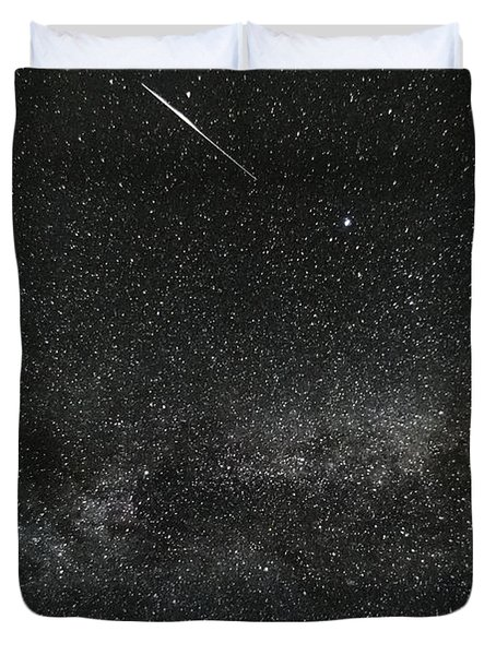 Meteor With The Milky Way Duvet Cover by Patrick Fennell