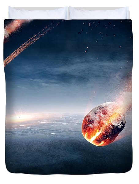 Meteorites On Their Way To Earth Duvet Cover