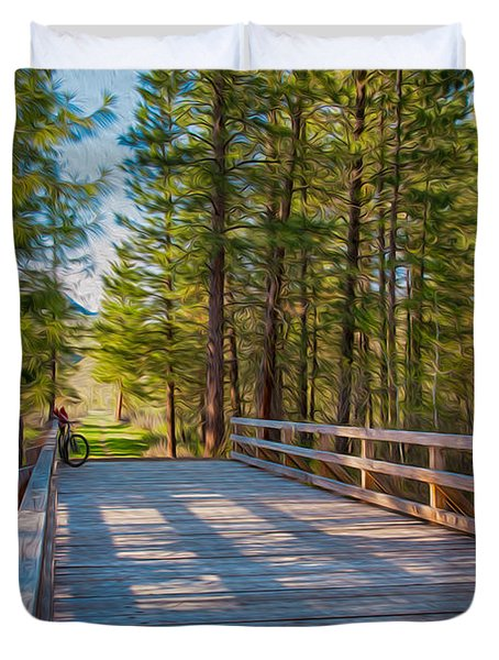 Methow Valley Community Trail At Wolf Creek Bridge Duvet Cover by Omaste Witkowski