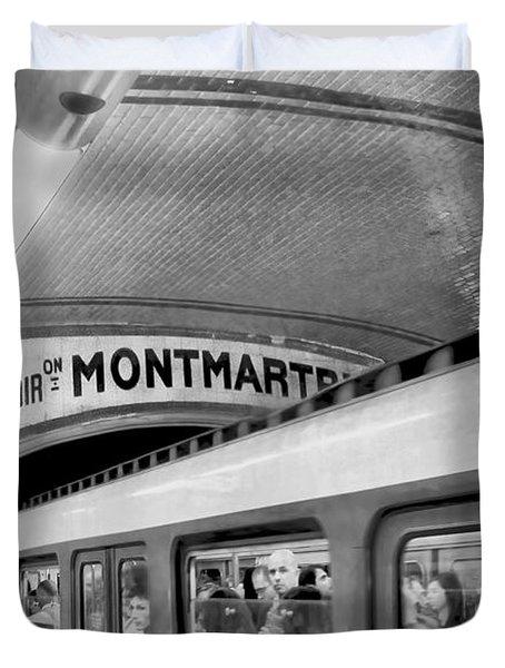 Duvet Cover featuring the photograph Metro At Montmartre. Paris by Jennie Breeze