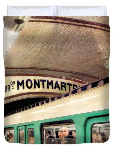 Duvet Cover featuring the photograph Metro To Montmartre. Paris   by Jennie Breeze