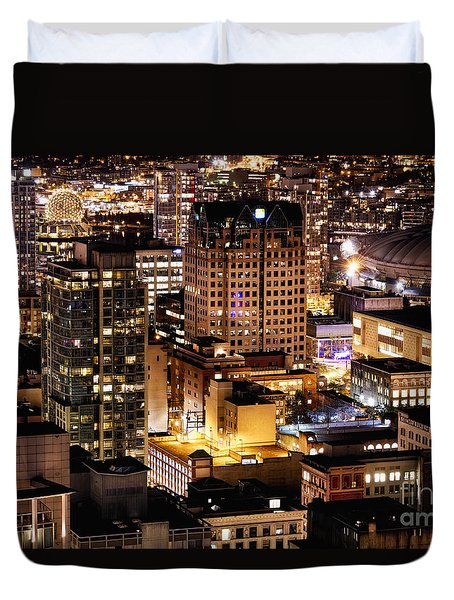 Duvet Cover featuring the photograph Metropolis Vancouver Mdccxv  by Amyn Nasser
