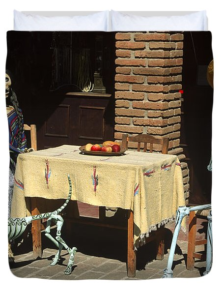 Mexican Antique Family Duvet Cover by Roderick Bley