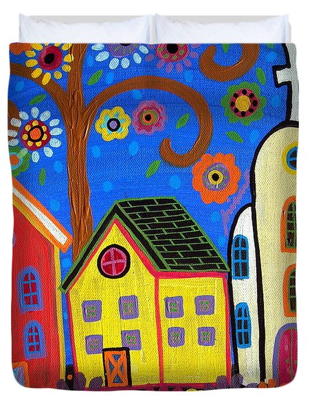 Mexican Church Town Duvet Cover