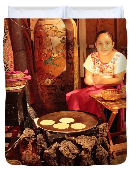 Mexican Girl Making Tortillas Duvet Cover by Roupen  Baker