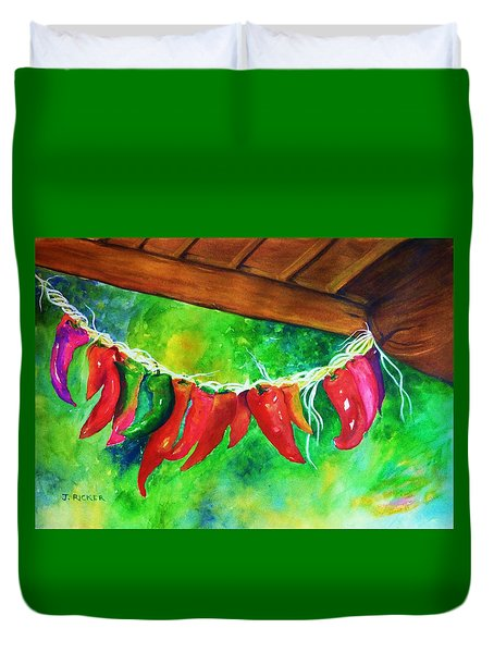 Mexican Jalapeno Peppers Duvet Cover by Jane Ricker