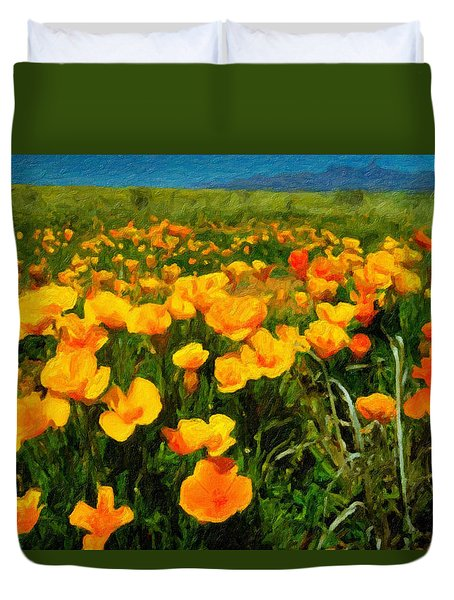 Duvet Cover featuring the digital art Mexican Poppies by Chuck Mountain