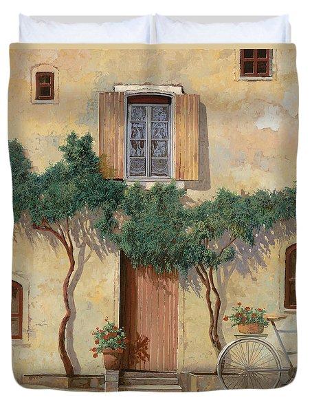 Mezza Bicicletta Sul Muro Duvet Cover by Guido Borelli