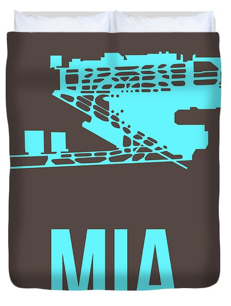 Mia Miami Airport Poster 2 Duvet Cover by Naxart Studio