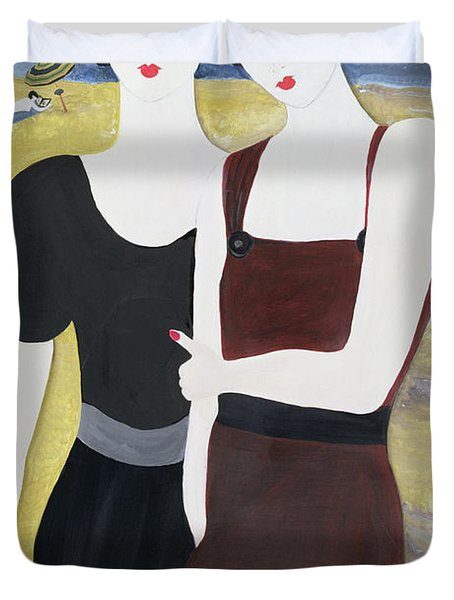 Mia Sorella, 2004 Acrylic With Collage On Paper Duvet Cover