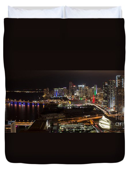 Miami After Dark II Skyline  Duvet Cover