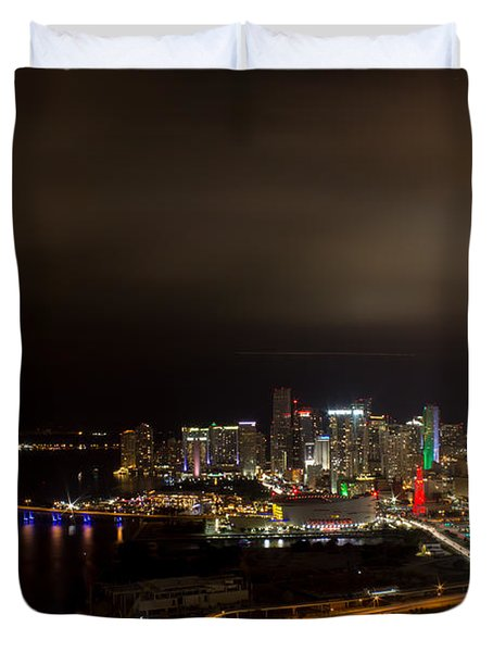 Miami After Dark Duvet Cover by Rene Triay Photography