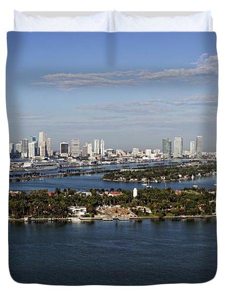 Miami And Star Island Skyline Duvet Cover