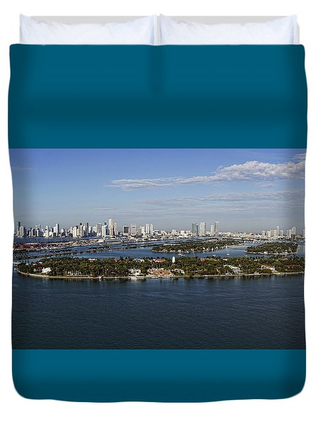 Duvet Cover featuring the photograph Miami And Star Island Skyline by Gary Dean Mercer Clark
