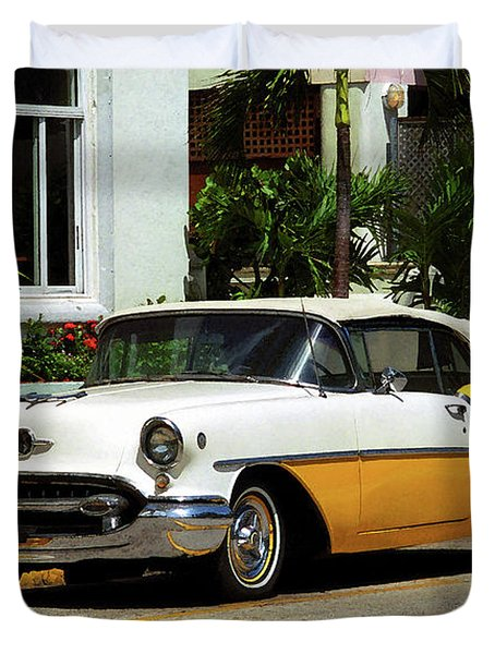 Miami Beach Classic Car With Watercolor Effect Duvet Cover by Frank Romeo