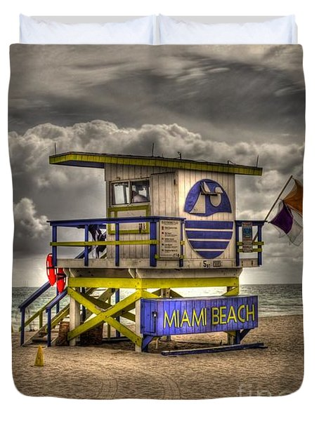 Miami Beach Lifeguard Stand Duvet Cover by Timothy Lowry
