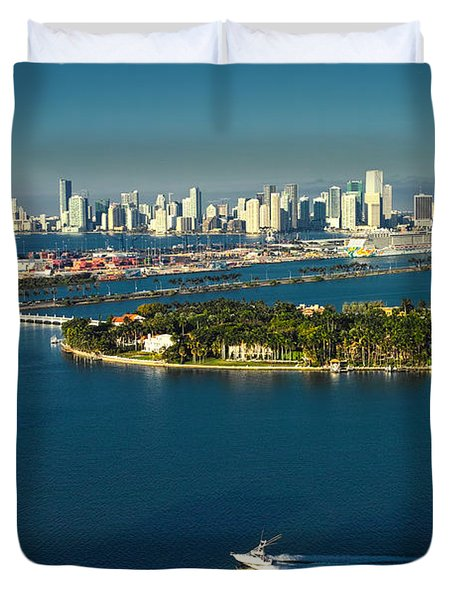 Miami City Biscayne Bay Skyline Duvet Cover