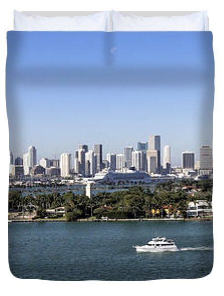 Miami Daytime Panorama Duvet Cover